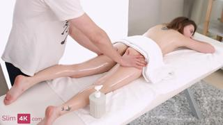 Bella Grey - Encounter between tiny girl and masseur ends with creampie