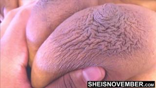 My Areolas Are Colossal & The Biggest Nipples You Will Ever Fucking See On My Natural Breasts, Cute Curvy Ebony Babe Msnovember Giant Titties on Sheisnovember