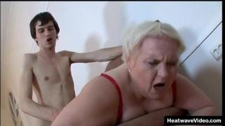 Old chubby grandma strips and rides a much y. dick