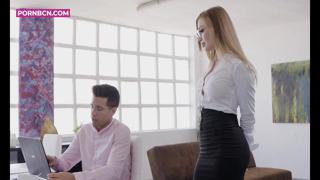 PORNBCN 4K / The hot russian blonde secretary Misha Maver wants her boss Alberto Blanco to fuck her ass with his big dick | big tits blowjob hardcore doggy style orgasm deepthroat anal ||