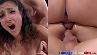 Nympho coed Madison double penetrated before cum shower