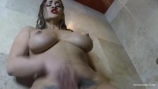 Big Booty Latina Miss Raquel Squirts in The Shower