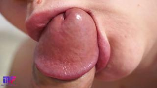 Close-up blowjob with cum in mouth and swallowing